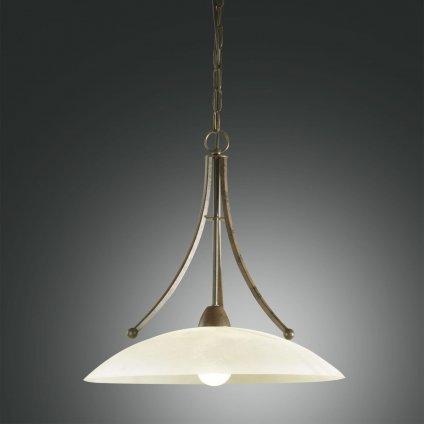 Fabas Devon, závěsné svítidlo v klasickém stylu, 1x100W, tmavá rez