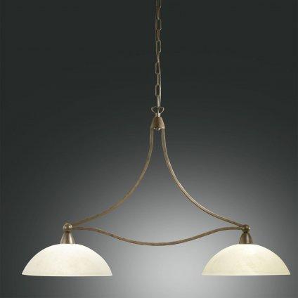 Fabas Devon, závěsné svítidlo v klasickém stylu, 2x100W, tmavá rez