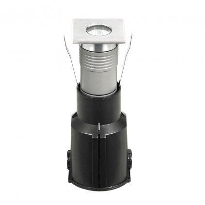 Fabas Apache COB, hranaté pojezdové svítidlo z nerezu, 3W LED, 3100K, 8,8x8,8cm, IP67