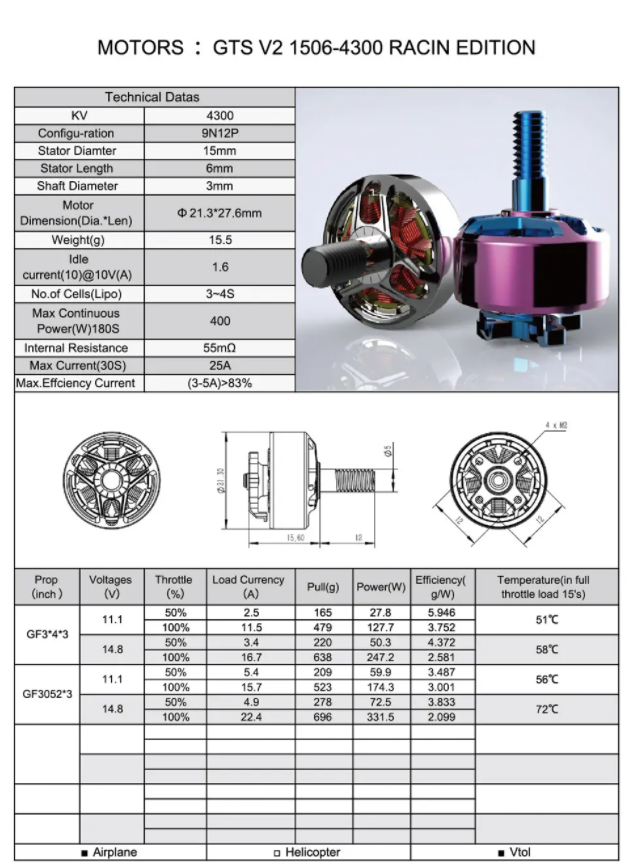rcinpower spec 4300kv