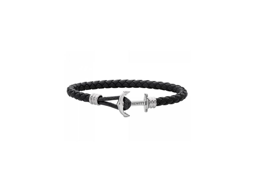 Náramek Anchor Leather Lite Black Silver