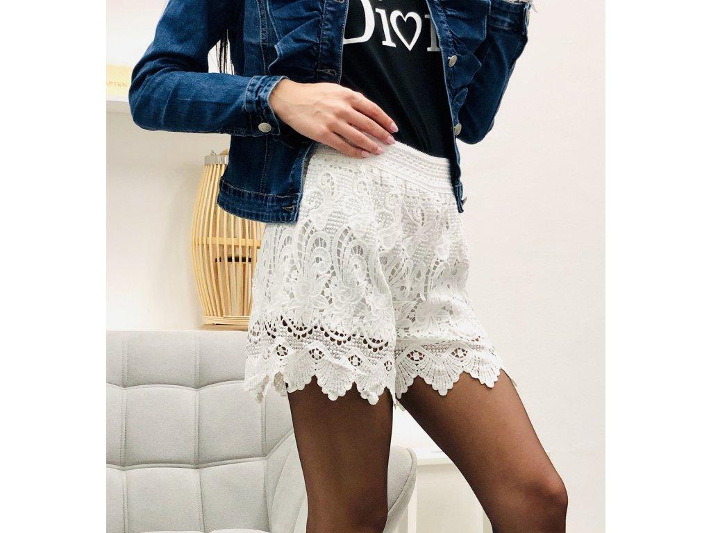 Krajkové šortky Florenc bílé/černé