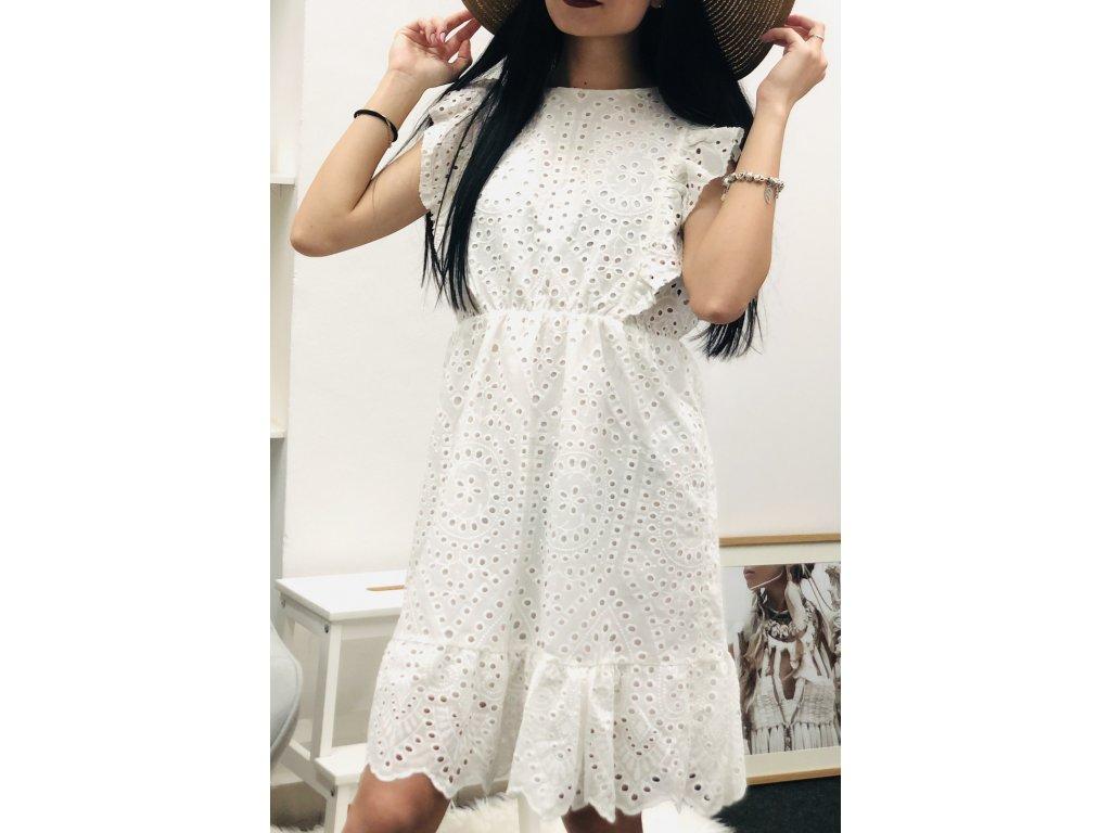 Bílé krajkové šaty Fler s volánky