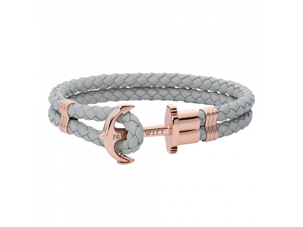 Náramek Anchor leather grey rose gold