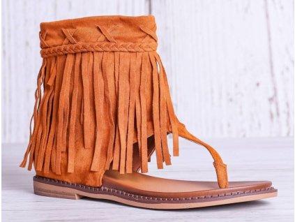 Střapaté hnědé sandálky Mia ve velbloudí barvě