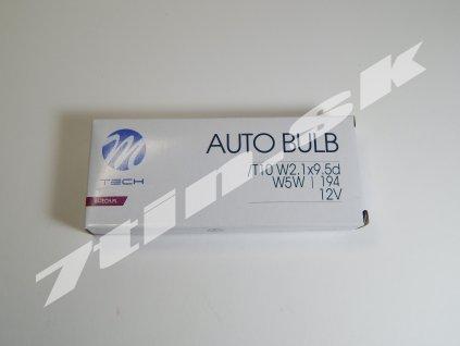M tech Auto bulb W5W, T10 W2,1x9,5d 12V 5W (10 ks)