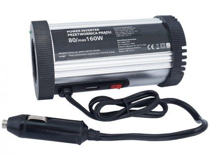 Menič napätia + USB  12 V/230 V 80/160W