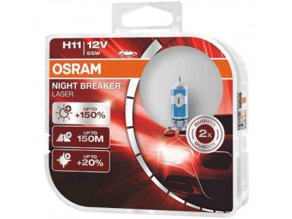 OSRAM Night Breaker Laser 150 Car Headlight Bulbs H11 Twin Pack 64211NL HCB 1 620 620