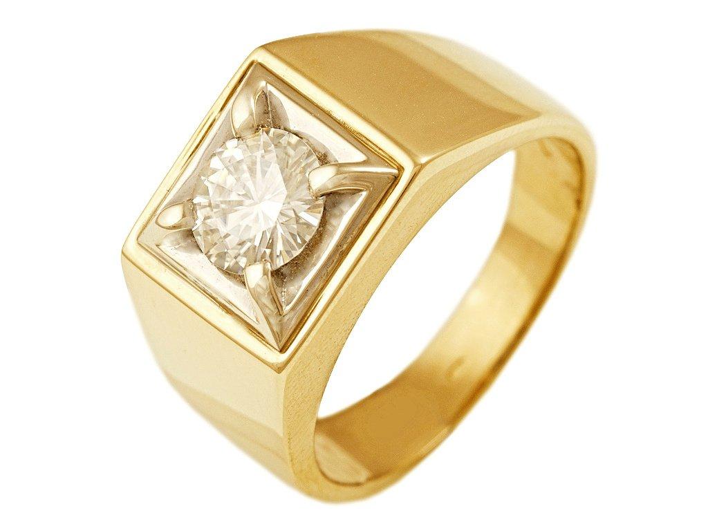 2185adbd1ae Prsten pánský zlatý s Moissanite - a-diamond.eu jewels
