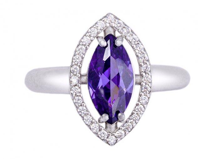Prstýnek stříbrný fialový
