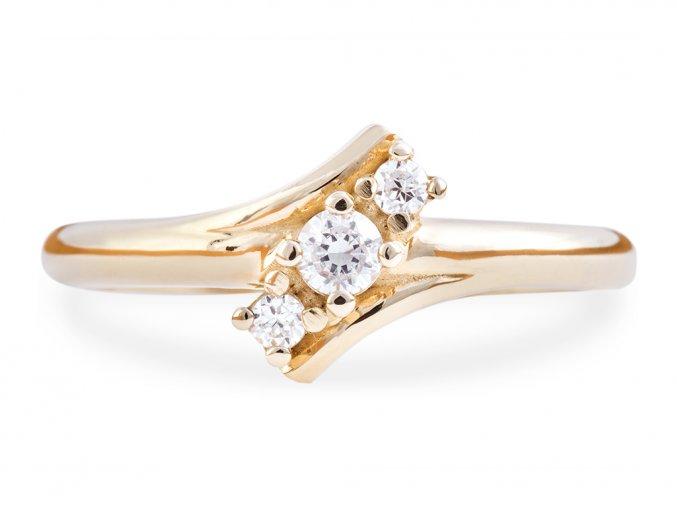 Zlatý prstýnek se třemi kamínky