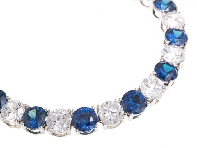 Náramek dámský stříbrný modrá a bílá kombinace