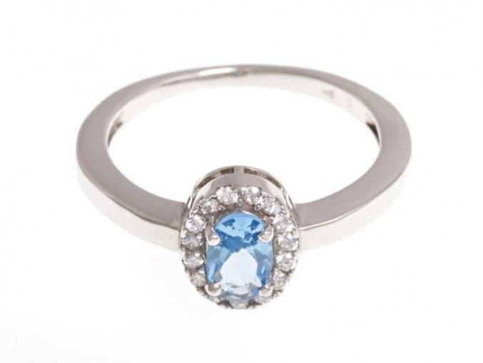 Stříbrný prstýnek s modrým kamínkem