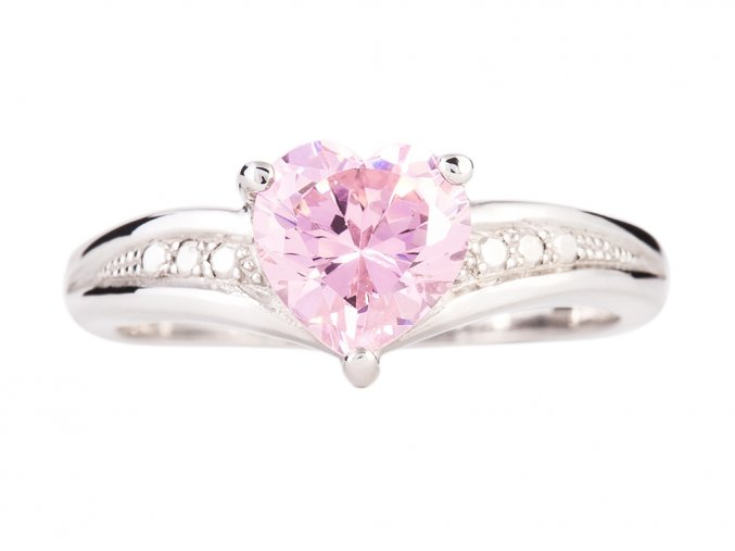 Stříbrný prstýnek růžové srdíčko