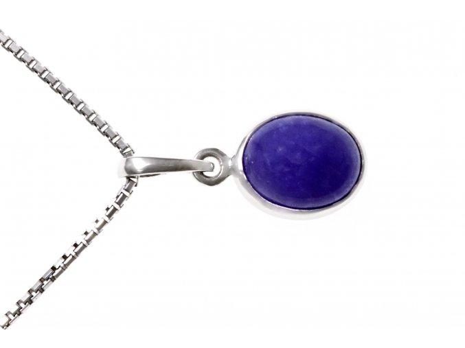 Přívěsek stříbrný s přírodním fialovým Jade