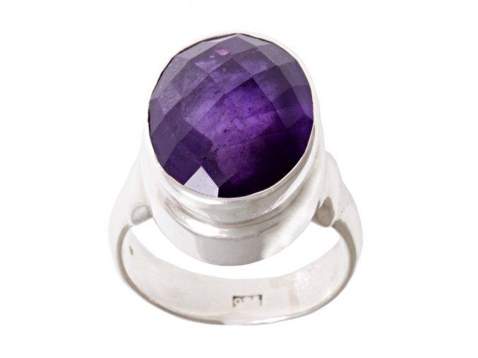 Ametyst přírodní ve stříbrném prstenu