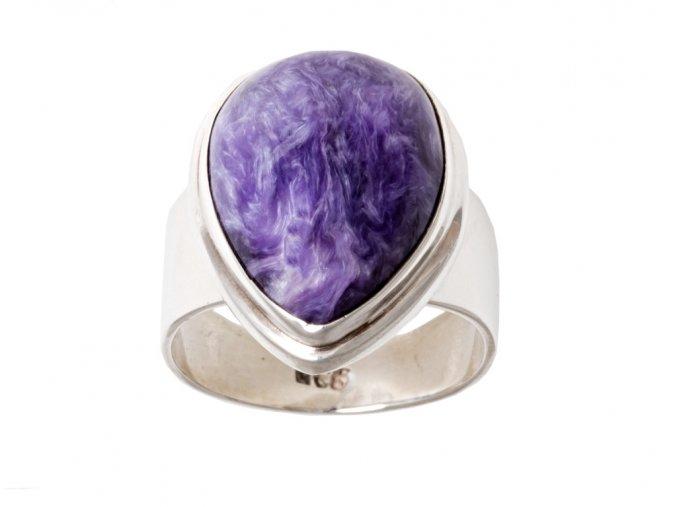 Prsten stříbrný s přírodním čaroitem