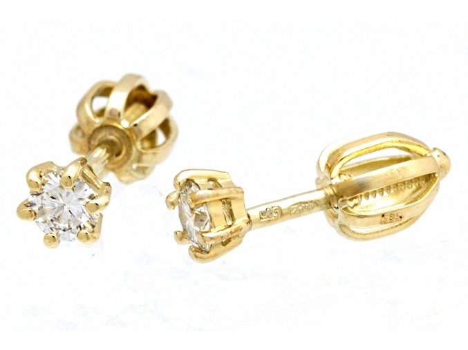 Náušnice zlaté pecičky s přírodními diamanty