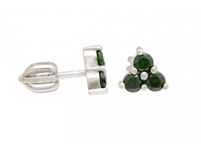 Náušnice stříbrné pecky zelené