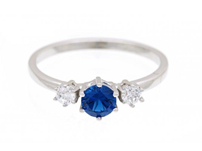 Prstýnek stříbrný modrá trojice