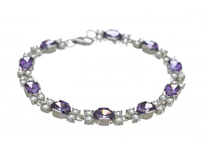 Náramek stříbrný třpytivě fialový