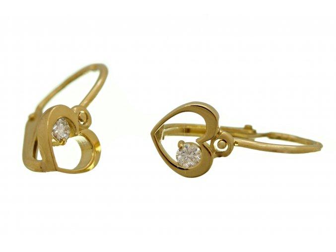 Dětská zlatá srdíčka s diamanty - brilianty