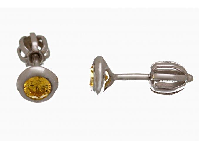 Náušnice stříbrné pecičky na šroubek žluté