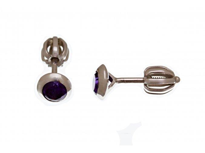 Náušnice stříbrné pecičky na šroubek fialové
