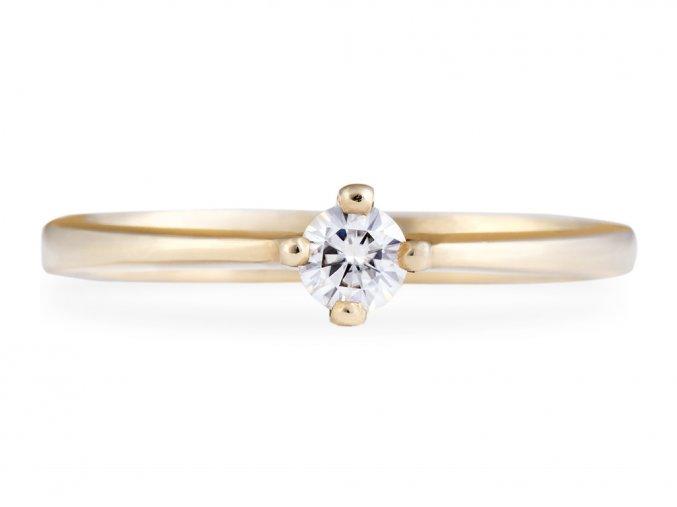 Zlatý prstýnek zásnubní s briliantem Moissanite