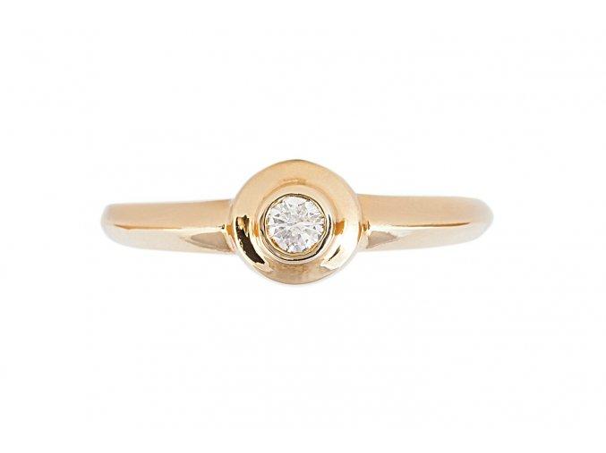 Zlatý prstýnek zásnubní s přírodním diamantem