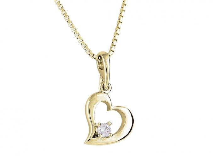 Přívěsek zlaté srdíčko s přírodním diamantem