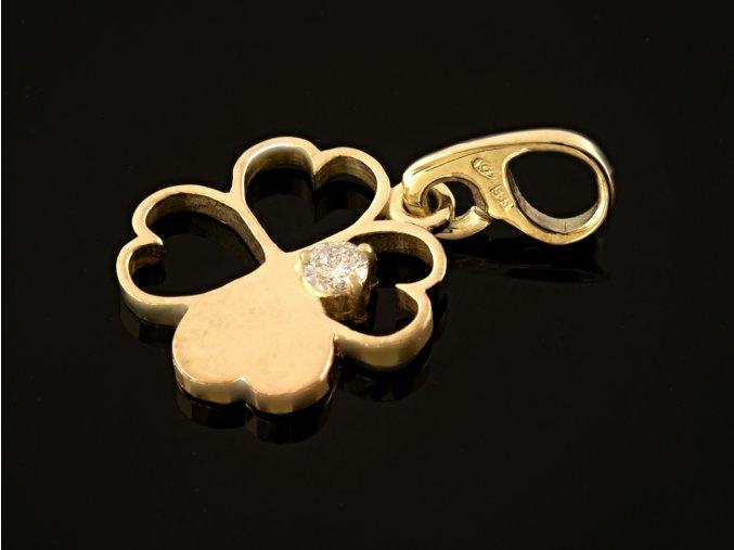 Přívěsek zlatý čtyřlístek s přírodním diamantem
