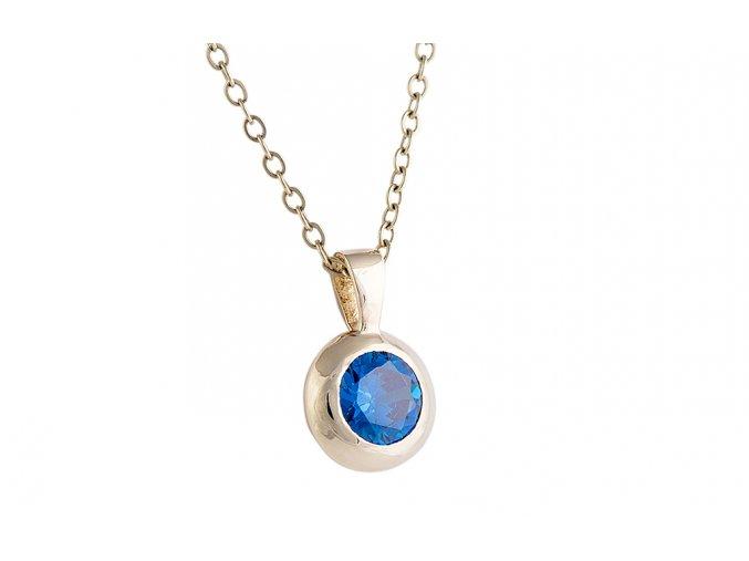 Přívěsek zlatý s modrým kamínkem