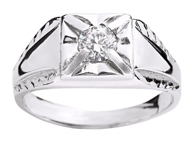 Prsten pánský stříbrný briliant