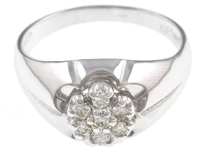 Pánský prsten z bílého zlata s přírodními diamanty