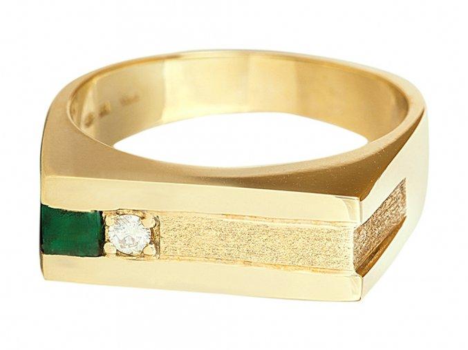 Pánský zlatý prsten přírodním smaragdem a diamantem