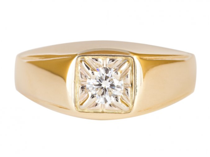 Prsten pánský zlatý s Moissanite