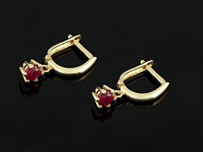 Náušnice zlaté kroužky s rubíny