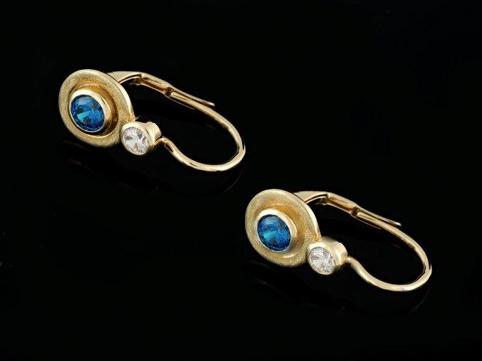 Náušnice zlaté s modrým a čirým kamínkem