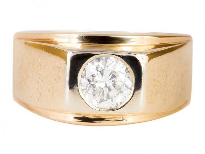 Pánský zlatý prsten s přírodním diamantem 1 karát
