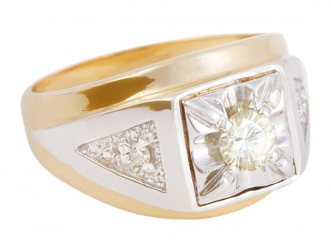 Prsten pánský zlatý s přírodními diamanty