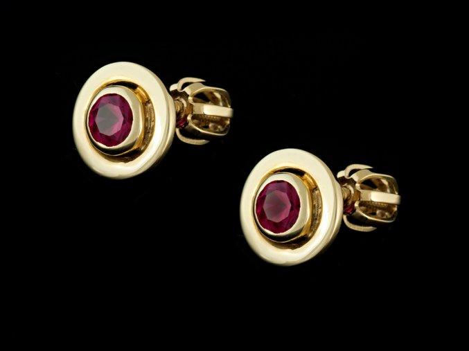 Náušnice zlaté pecky rubíny