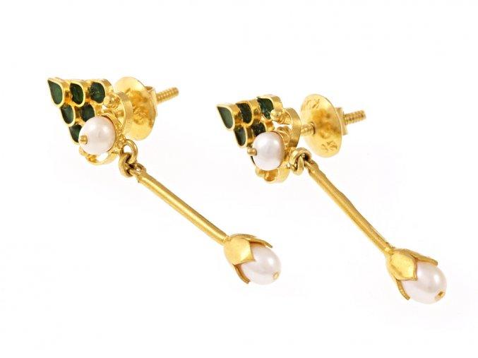 Náušnice zlaté visací perličky