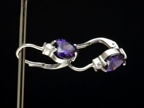 Náušnice stříbrné fialová srdíčka