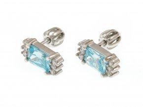 Stříbrné náušnice na šroubky se světle modrým kamínkem