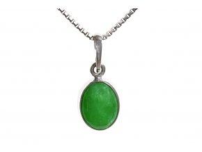 Jade zelené přírodní ve stříbrném přívěsku