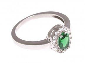 Stříbrný prstýnek se zeleným kamínkem