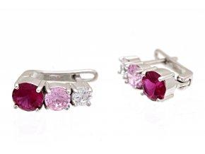 Náušnice stříbrné, rubínový, růžový a čirý kamínek