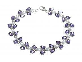 Náramek stříbrný třpytivé a fialové kamínky
