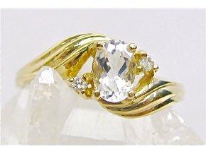 Prstýnek zlatý s přírodními diamanty a bílým topazem